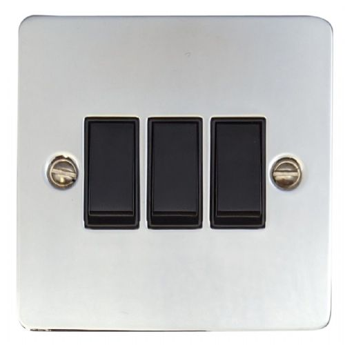 G&H FC3B Flat Plate Polished Chrome 3 Gang 1 or 2 Way Rocker Light Switch